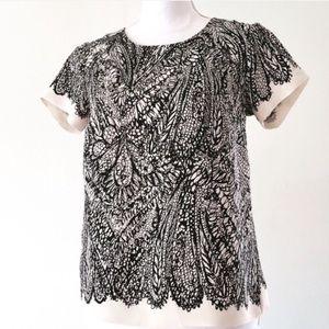 LOFT petite scribble blouse abstract xsp XS